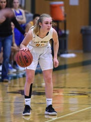 Manogue's Kenna Holt  dribbles as her team sets up