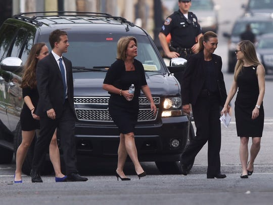 Carla Markell arrives at Beau Biden's funeral.
