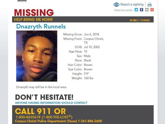 Dnazryth Runnels,15, was last seen June 6, 2018. He