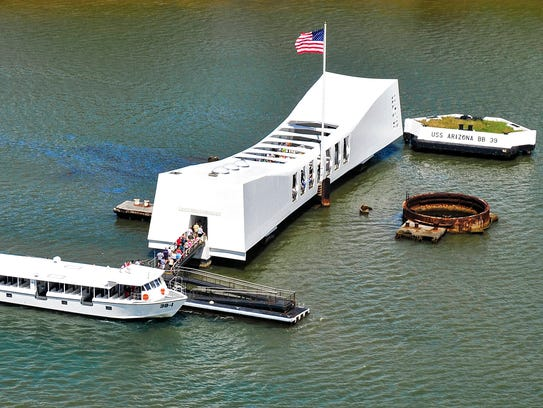 The USS Arizona Memorial in Honolulu marks the site