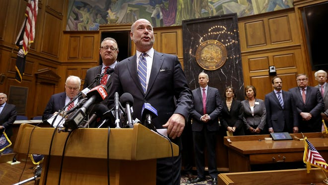 (From left) Senate President Pro Tem David Long and Indiana House Speaker Brian Bosma, address the media at the Statehouse on April 2, 2015, about a proposal to fix the Religious Freedom Restoration Act.