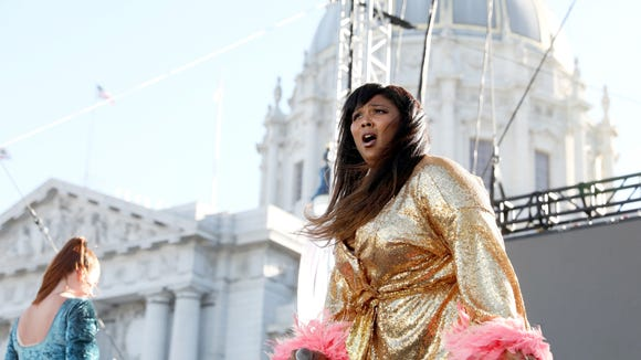 Lizzo performs onstage at the Piazza Del Cluster Stage