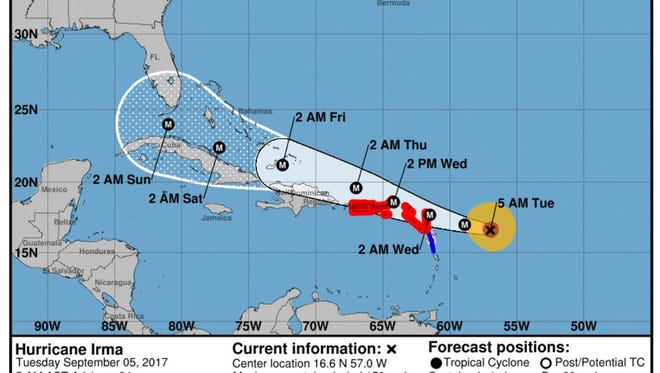 The National Hurricane Center's 5 a.m. update for Hurricane Irma on Tuesday, Sept. 5, 2017.