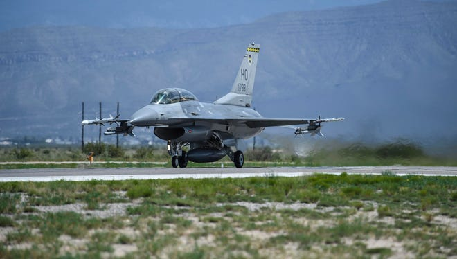 This photo taken Aug. 17, 2017 and provided by the U.S. Air Force, shows an F-16 Fighting Falcon ready for take-off in preparation to perform a final joint flying mission at Holloman Air Force Base in Alamogordo, N.M.