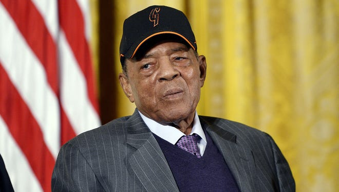 Baseball Hall of Famer Willie Mays attends an event to honor the San Francisco Giants' 2014 World Series victory on June 4, 2015, in Washington, D.C.