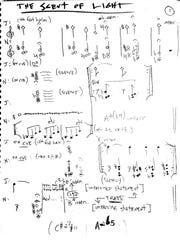 "Page 1 of the hand-written notation for ""The Scent of Light,"" a composition by New York-based guitarist Nels Cline that appears on a new album with Julian Lage."