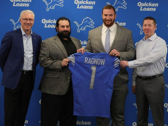 (From left) Lions president Rod Wood, coach Matt Patricia