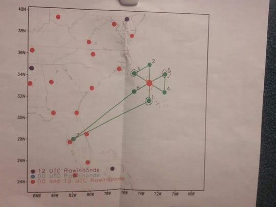 Flight plan for the hurricane hunter plane flying into Maria.
