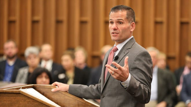 Marc Molinaro, the Duchess County executive, delivers his 2018 budget address in the Legislative Chambers of the County Office Building in Poughkeepsie on Oct. 31.