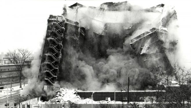 Mackenzie Hall, a former 1925 hotel, collapsed into a heap of dust on Feb. 17, 1991.
