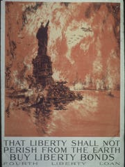 A World War I propaganda poster published in 1917 depicts the ruins of the Statue of Liberty against the backdrop of a New York City skyline that has turned into an inferno as a result of America's fictional defeat against the Central Powers in World War I.