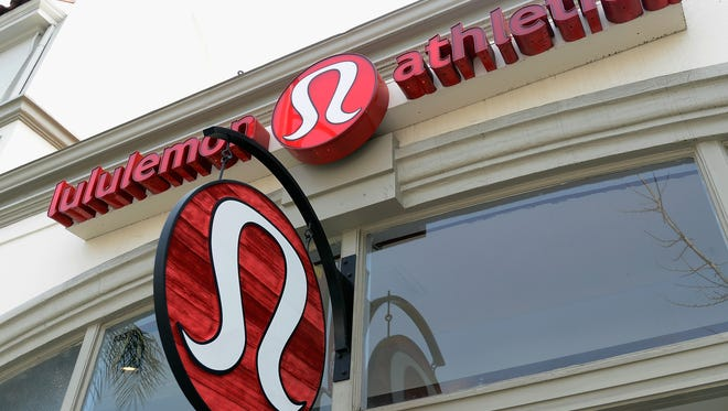 A sign marks a Lululemon Athletica store in Pasadena in 2013.