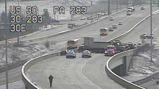 A multi-vehicle crash involving 15 cars closed Route 30 east between Harrisburg pike and Route 283.