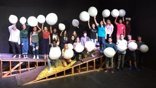 Indian River Charter High School theater students show off the white balloons they will use for their custom installation at the Wine Women & Shoes event Nov. 9. Pictured, back row left to right, are Fatih Burkins, Maya Snead, Alanis Ogando, Helen Snelligen, Ted Macera, Ciara DelCogliano, Grace Thompson, Kendrick Mompremier, Marie Charlier, Jessica Shaver, Graham Oberlink. Front row, left to right, Angelica Cope, Alexi Dong, Lillian Tougas, Justin Ledezma, Carissa Marques, Micah Nalzro, Naoh Harvie, Timothy Owens, and Sam Olsen.