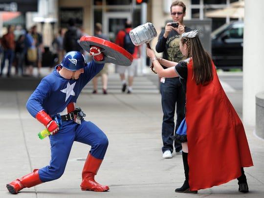 Gen Con fans Matt Schneidewent, a.k.a. Captain America,