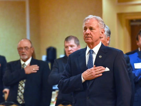 Gov. Henry McMaster during an Anderson Area Chamber of Commerce Business Luncheon at the Hilton Garden Inn in Anderson on Monday.