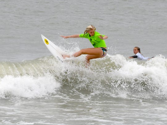 Caitlin Simmers in the semi-finals.The final day of the 2019 Ron Jon Beach 'N Boards Fest at Alan Shepard Park in Cocoa Beach included surfing, a high school volleyball tournament, the Billabong Wakeboard Demo, and many other activities.