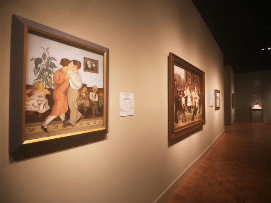"""Installation view of """"Dance! American Art 1830-1960"""" at the Detroit Institute of Art, with Raphael Soyer's """"Dancing Lesson """" in the foreground."""