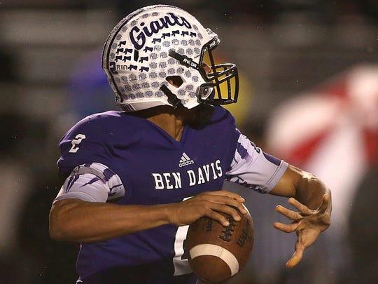 Ben Davis Giants quarterback Reese Taylor (2) looks