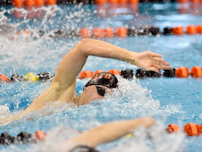 Northeastern's Drew Wilson swims the boys' 100-yard
