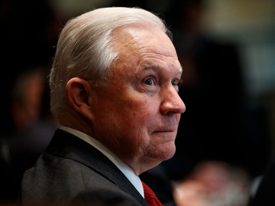 Then-Attorney General Jeff Sessions listens during a cabinet meeting with President Donald Trump in the Cabinet Room of the White House on Oct. 17, 2018, in Washington.
