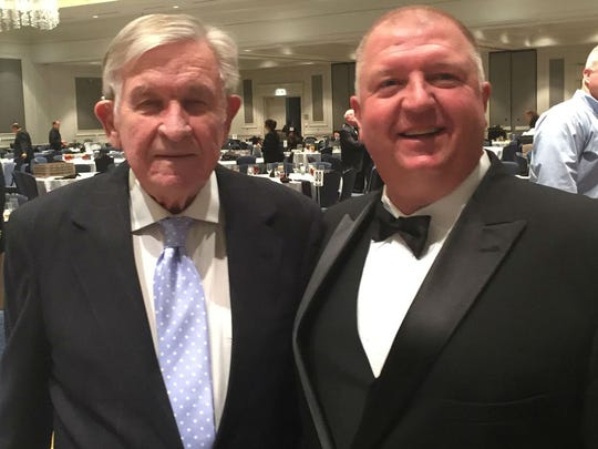 New Tennessee Tech coach Dewayne Alexander with former Tennessee coach Johnny Majors at the 2017 Middle Tennessee Chapter of the National Football Foundation banquet.