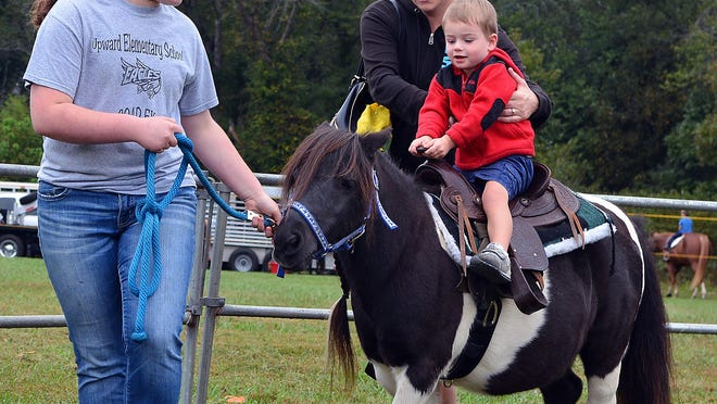 Barnyard Bandits 4-H Club member Haley Hargus leads Max Redden, 2, on a Shetland pony ride as his mother, Natalie, keeps him steady. Pony rides were offered free during the 2019 Farm City Day celebration at Jackson Park.
