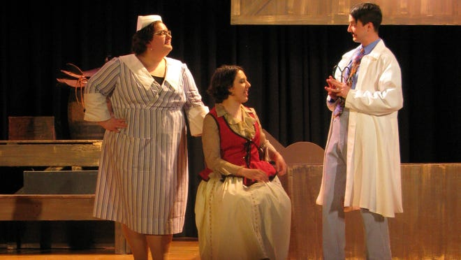 L to r: Nurse Bedpann (Abby DeVuyst), star Verily (Lynne Sanchez-Fries) and Sneakypete (Andrew Head).