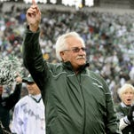 MSU's Ron Mason, now an MSU Hall of Fame member, is honored by the crowd at Spartan Stadium  Saturday 10/2/2010.(photo by Rod Sanford)