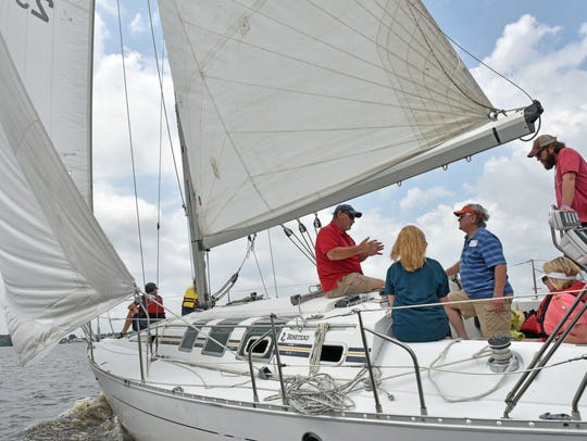 Participants sail around the Ross Barnett Reservoir