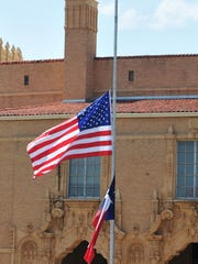 The City of Wichita Falls flags flew at half-staff after President Trump ordered the flags to be lowered in honor of the shooting victims at the Annapolis, MD., Capital Gazette.