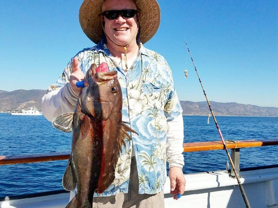 Ted Enice of Moorpark caught a rare tan grouper, weighing 9 pounds, aboard the Erna B.