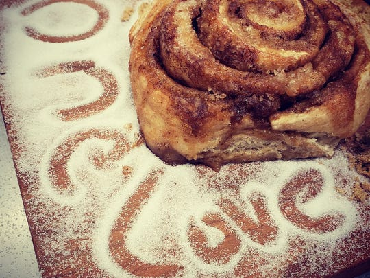 One of One Love Bread's most popular items is a one-pound cinnamon roll that it sells. Here is one of the rolls made from the one-pound loaf.