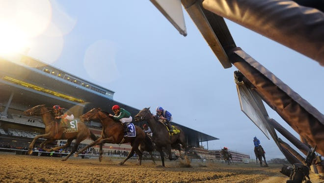 Tonalist, left, got up in the final strides to win Saturday's Grade I Cigar Mile at Aqueduct.