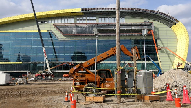 Construction work continues at the new arena being constructed for the Milwaukee Bucks Tuesday, November 14, 2017 in Milwaukee, Wis. The large number of the skilled trades apprentices working on the project are being honored at lunch Wednesday and later that night when the Bucks play the Detroit Pistons at the BMO Harris Bradley Center.  MARK HOFFMAN/MILWAUKEE JOURNAL SENTINEL