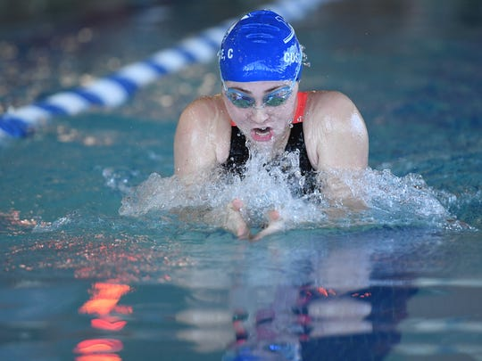 Passaic County boys and girls swimming tournament at Passaic County Technical Institute on Saturday, January 6, 2018. Claire Custance, of Wayne Valley, in the Girls 100 Yard Breaststroke.