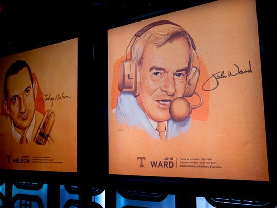 """A poster of John Ward hangs in the Ray and Lucy Hand Digital Studio in Knoxville on Thursday. Ward, known as the legendary """"Voice of the Vols,"""" died Wednesday evening at age 88."""