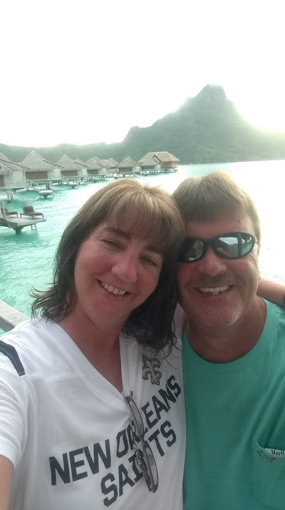 Todd and Stella in Bora Bora.