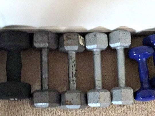 Dumbbells given to obese columnist Daniel Finney are helping him recover his health.
