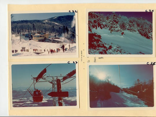 Old photos from Sugarbush clockwise from top left: Valley House Lodge, powder run, near summit of gondola and gondola liftline.
