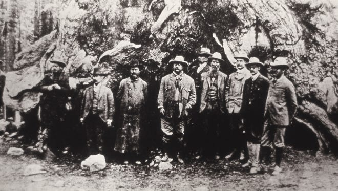 President Theodore Roosevelt, John Muir and others in Yosemite by an unknown photographer around 1903.