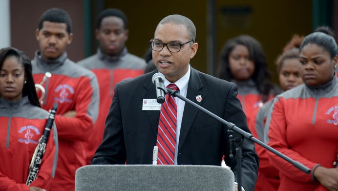 Lane College President Dr. Logan Hampton welcomes students, faculty, staff, guests and law enforcement to the college's Black and Blue BBQ on Thursday afternoon, at the former Jackson Central-Merry High School campus.