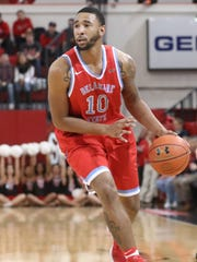 Delaware State forward Kavon Waller (10) prepares to drive during the first half against the St. John's Red Storm at Carnesecca Arena.