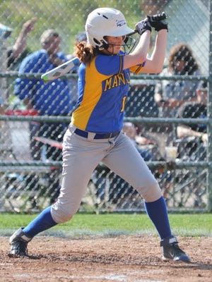 Maysville's Hallie Bennett connects with a pitch during a win over Cambridge. Bennett signed to play softball with Ashland on Thursday.