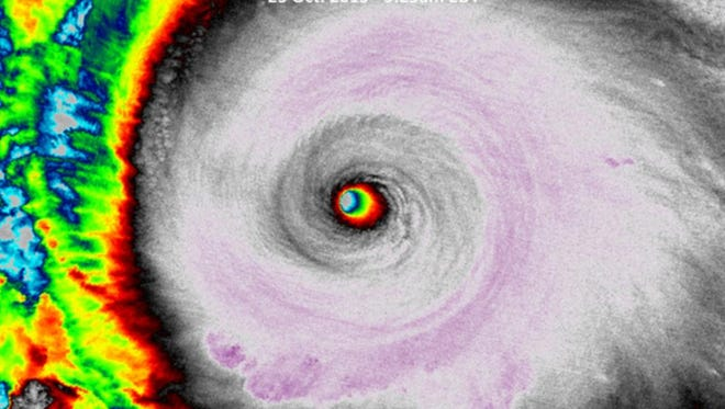 A satellite image shows the eye of Hurricane Patricia while it was near its peak wind speed on Oct. 23, 2015.