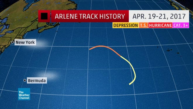 Arlene was the first storm of the 2017 hurricane season.