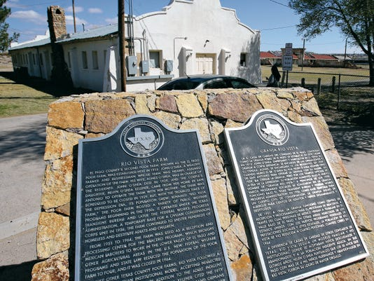Historical Markers sit at the site of the former Rio Vista Farm, which was established in 1915 in Socorro. The site was used for public welfare programs during the Great Depression.
