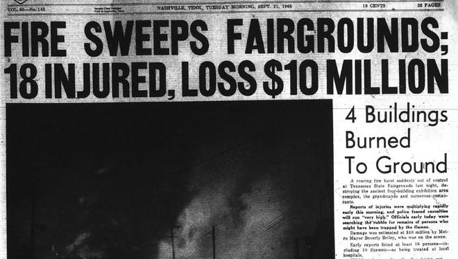 The fire at the Tennessee State Fair was the lead story for the Sept. 21, 1965, edition of The Nashville Tennessean.
