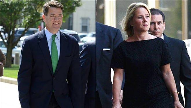 Bill Baroni and Bridget Kelly heading into court on Thursday, July 7, 2016.