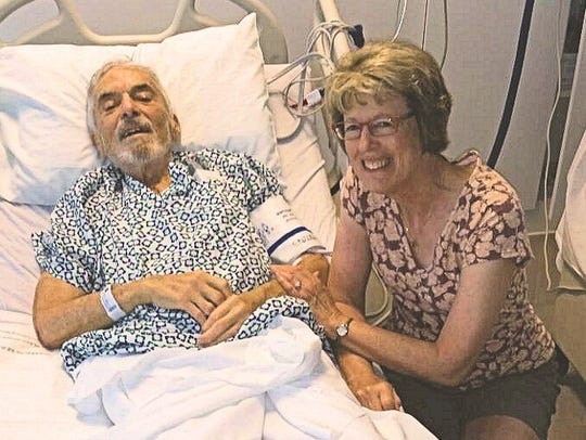Rob Kelman with wife Mary after Rob's open-heart surgery